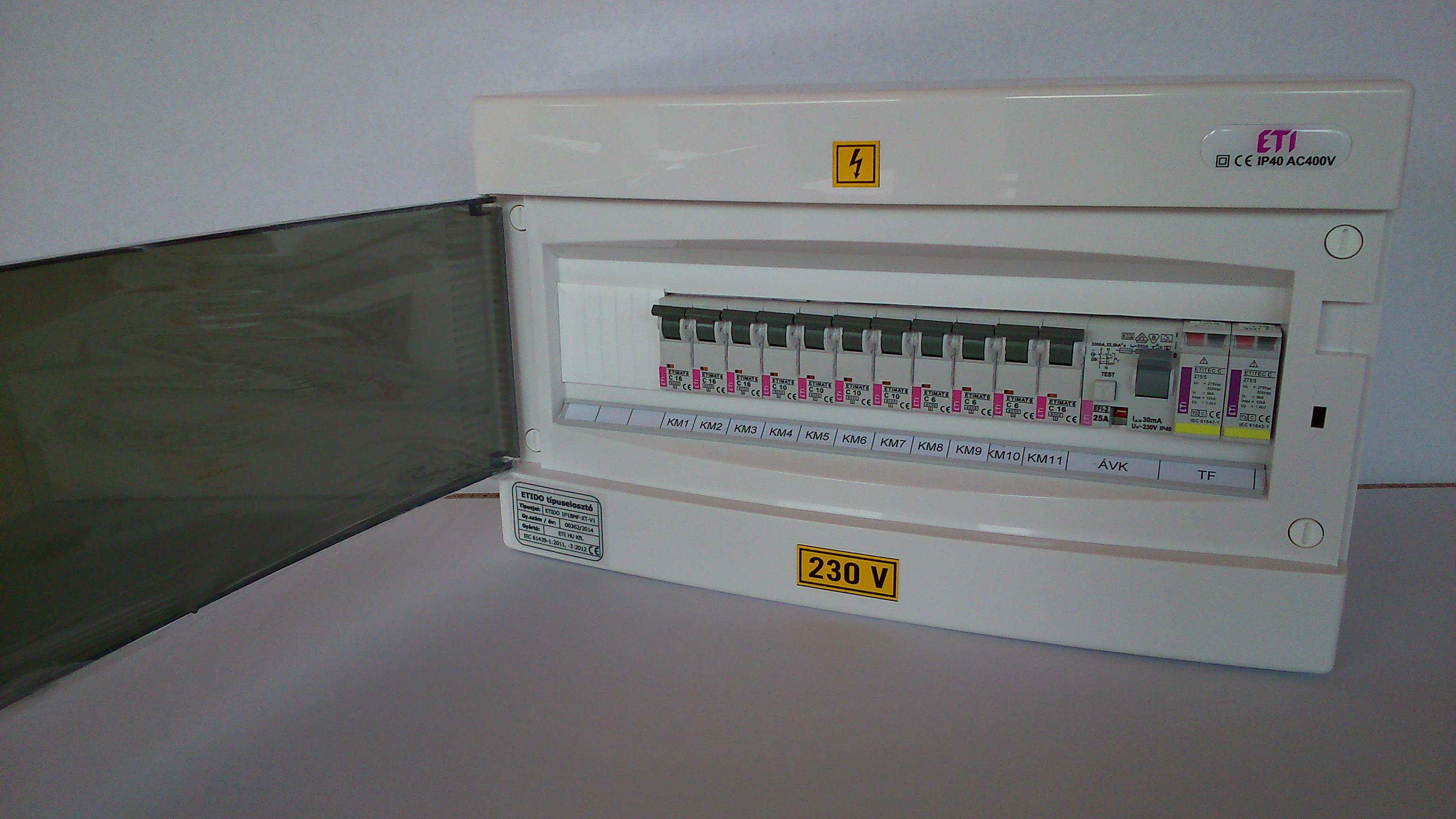 11db kisautomatát és 1 db áramvédő-kapcsoló tartalmató ETIDO lakáselosztó minőségi tanúsítvánnyal